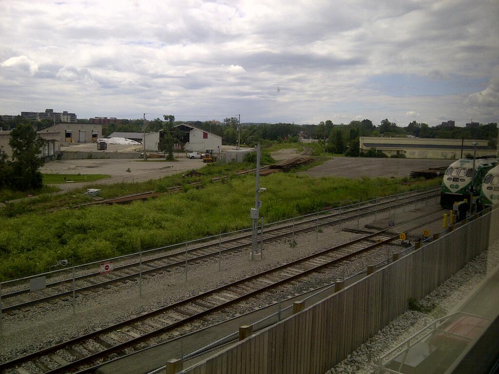 Kitchener Go Train Layover, with damaged buildings