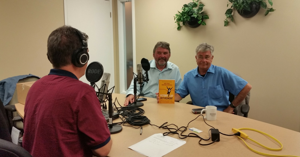 Jonathan Chevreau and Mike Drak with Doug Hoyes recording podcast