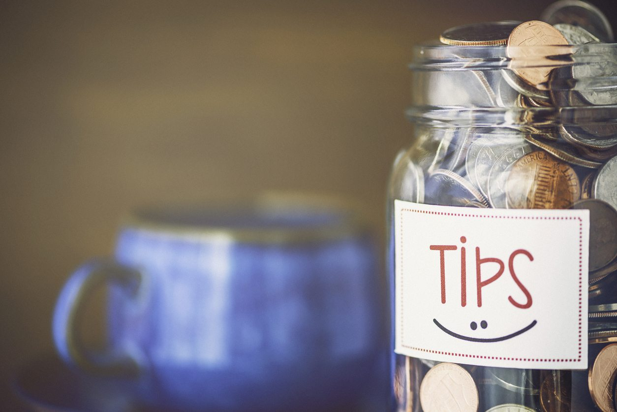 Tip jar in coffee shop or restaurant