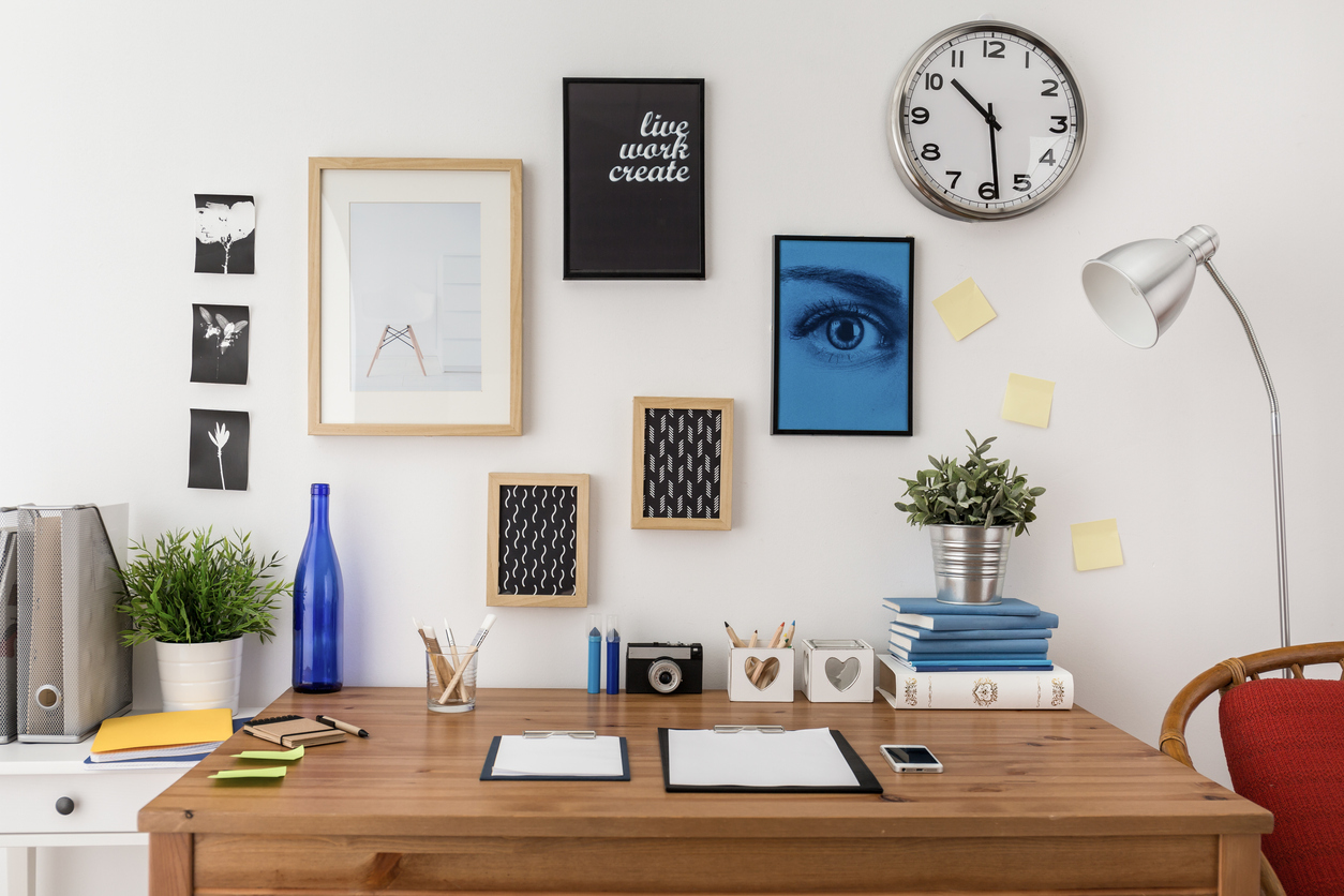 Well prepared materials for work on wooden desk to show organization