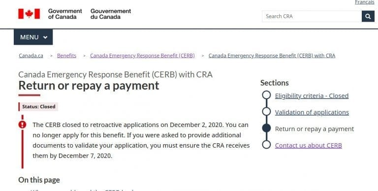 CRA Collection Letters for CERB Ineligibility & Repayment – UPDATED