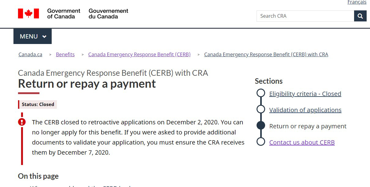 CRA Collection Letters for CERB Ineligibility & Repayment